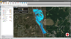 For unsteady flow models, the flood map can be animated to show how it changes with time. The animation speed can be adjusted, as well as set up to loop continuously. The final animation can be recorded to a video. In addition to animating the flood results, options are available to show the extent of the maximum and minimum flood areas.