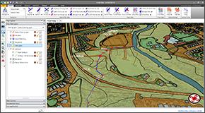 Définissez les stations des berges, les longueurs d'écoulement, les zones d'écoulement inefficace, les obstructions de transport, les levées et autres données de modélisation fluviale à partir de données CAO et SIG. Attribuez la rugosité de Manning aux sections transversales à l'aide de polygones SIG ou du traitement d'images de cartes de base orthophotographiques.