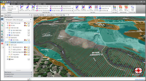 Utilize world-wide high resolution 3D digital elevation terrain data from map services for automated cross section extraction and creation of flood maps. Utilize web-based mapping services for aerial orthophotos, FEMA flood maps, watershed delineation, river centerline alignment, and more.